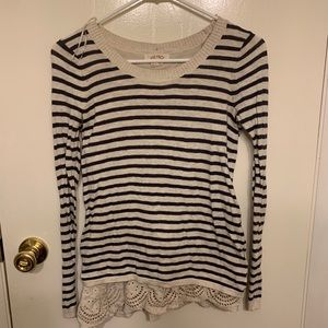 Lace bottom striped sweater